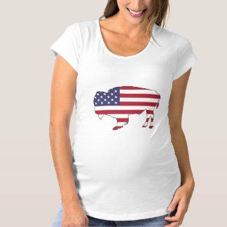 Bison - American Flag Maternity T-Shirt