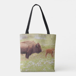 Bison and Calf in Yellowstone National Park Tote Bag