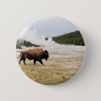 Bison and Old Faithful 6 Cm Round Badge