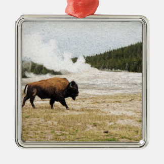 Bison and Old Faithful Metal Ornament