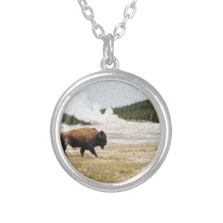 Bison and Old Faithful Silver Plated Necklace