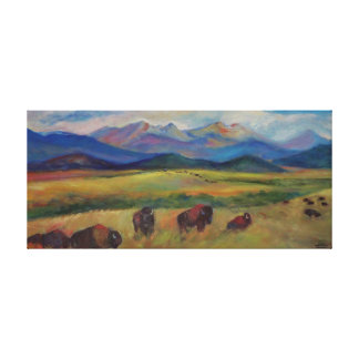 Bison and the Spanish Peaks Canvas Print