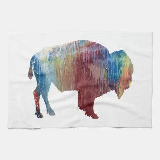 Bison art tea towel