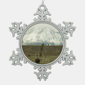 Bison at Grand Teton National Park Photography Snowflake Pewter Christmas Ornament
