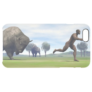 Bison charging homo erectus - 3D render Clear iPhone 6 Plus Case