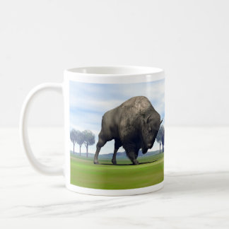 Bison charging homo erectus - 3D render Coffee Mug
