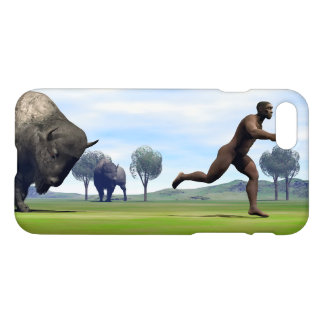 Bison charging homo erectus - 3D render iPhone 8/7 Case