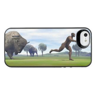 Bison charging homo erectus - 3D render iPhone SE/5/5s Battery Case