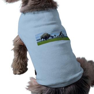 Bison charging homo erectus - 3D render Sleeveless Dog Shirt