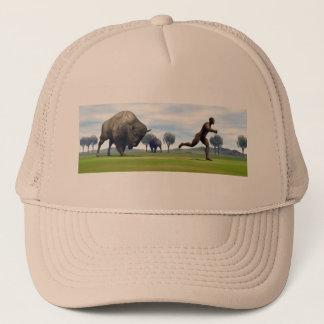 Bison charging homo erectus - 3D render Trucker Hat