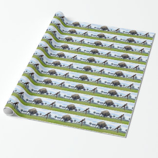 Bison charging homo erectus - 3D render Wrapping Paper