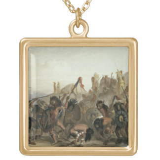 Bison-Dance of the Mandan Indians in front of thei Gold Plated Necklace
