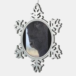 bison face pewter snowflake decoration