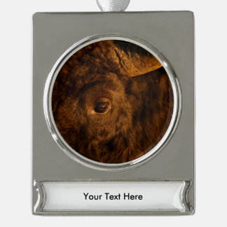 bison face silver plated banner ornament