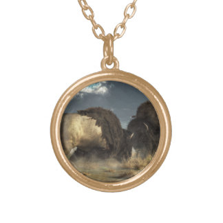 Bison Fight Gold Plated Necklace