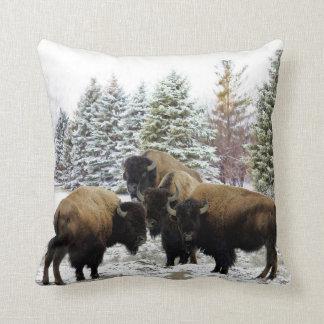 Bison Herd in Winter Snow Decorative Pillow