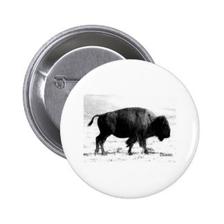 Bison Photograph Logo black and white Pin