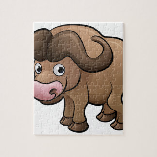 Bison Safari Animals Cartoon Character Jigsaw Puzzle