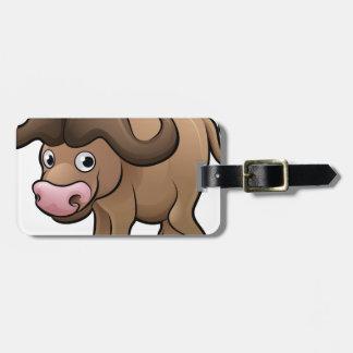 Bison Safari Animals Cartoon Character Luggage Tag