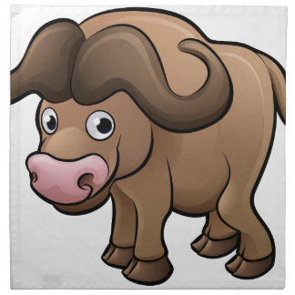 Bison Safari Animals Cartoon Character Napkin