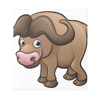 Bison Safari Animals Cartoon Character Notepad