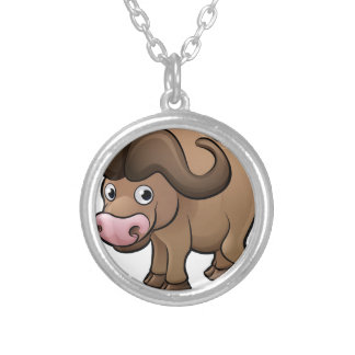 Bison Safari Animals Cartoon Character Silver Plated Necklace