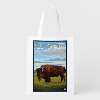 Bison Scene - West Yellowstone, Montana Reusable Grocery Bag