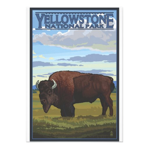 Bison Scene - Yellowstone National Park Personalized Invitations