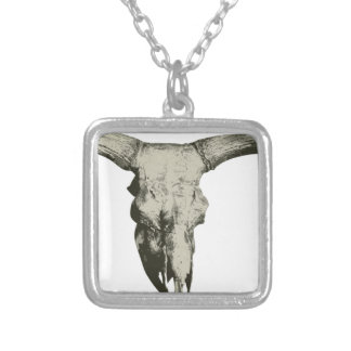 Bison Skull Silver Plated Necklace