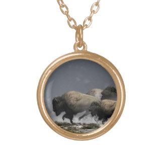 Bison Stampede Gold Plated Necklace
