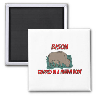 Bison trapped in a human body refrigerator magnets