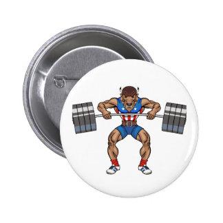 bison weight lifter 6 cm round badge