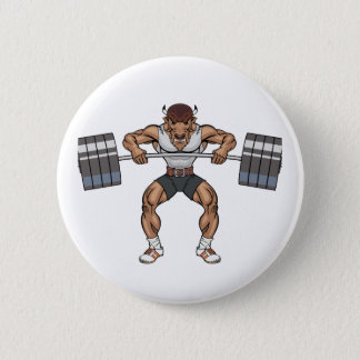 bison weight lifter 6 cm round badge