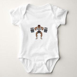 bison weight lifter baby bodysuit