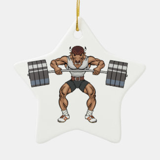 bison weight lifter ceramic ornament