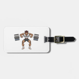 bison weight lifter luggage tag