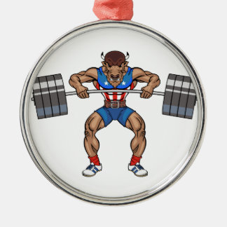 bison weight lifter metal ornament