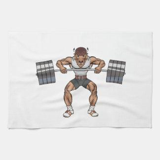 bison weight lifter tea towel