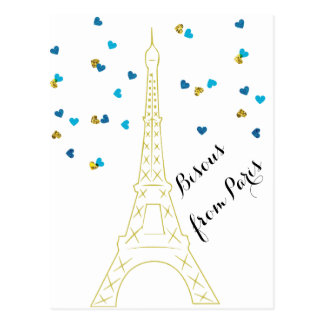 Bisous from Paris Postcard