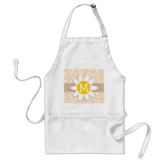 Bisque Color Damask Pattern; Daisy Adult Apron