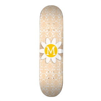 Bisque Color Damask Pattern Daisy Skate Board