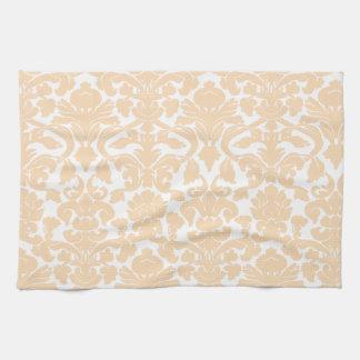 Bisque Color Damask Pattern Kitchen Towels