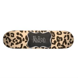 Bisque Colour Leopard Print; Retro Chalkboard Skate Board