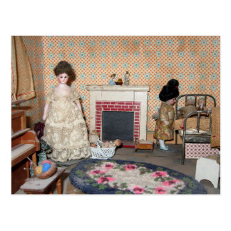 Bisque Dolls by Fireplace Postcard - Customizable