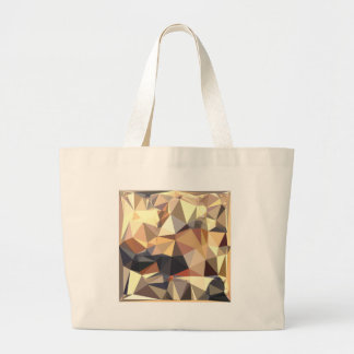 Bisque Gray Abstract Low Polygon Background Large Tote Bag