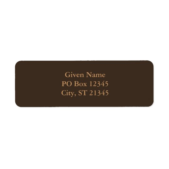Bistre Brown Return Address Label
