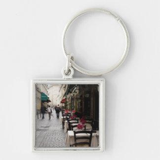 Bistro in Paris 2 Silver-Colored Square Key Ring