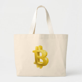 Bitcoin 3d Gold Sign Symbol Large Tote Bag