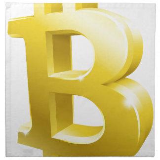 Bitcoin 3d Gold Sign Symbol Napkin