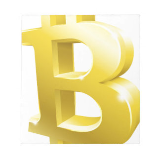 Bitcoin 3d Gold Sign Symbol Notepad